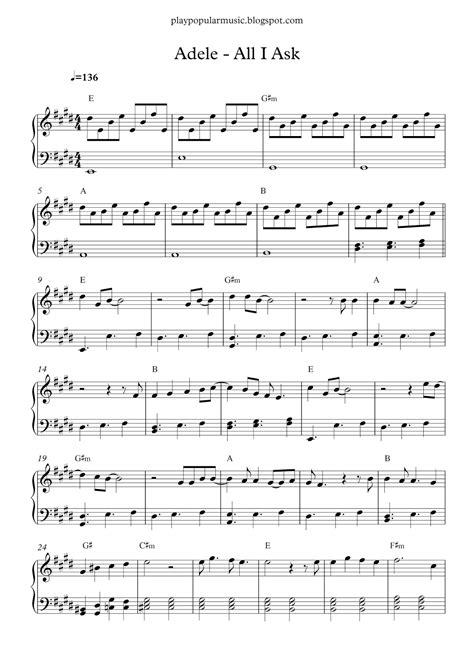 tutorial piano honesty free piano sheet music adele all i ask pdf i don t need