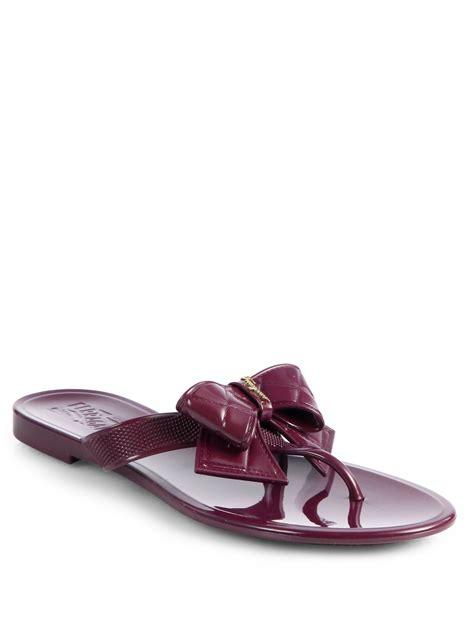plum shoes ferragamo bali jelly bow sandals in purple lyst