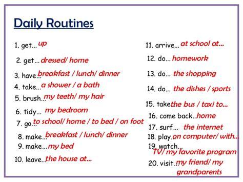 Bett Beziehen Englisch by Phrasal Verbs For Daily Routines