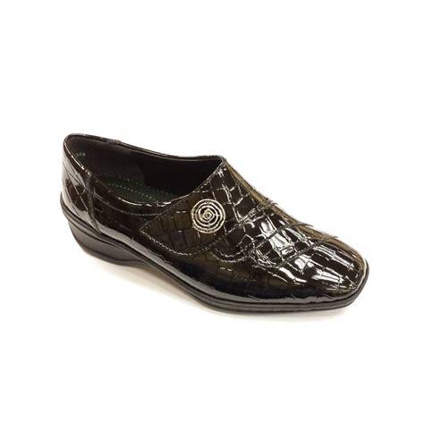 Black Comfort Shoes 61180 06 black patent croc velcro comfort shoe