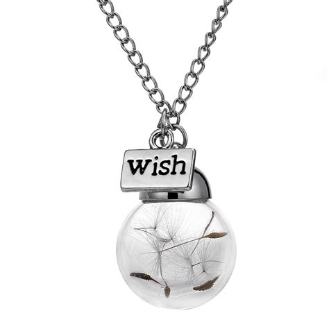 make a wish jewelry glass bottle necklace dandelion seed in glass