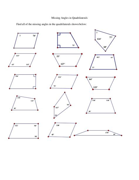 finding missing angles of a triangle worksheet missing angles in quadrilaterals ws
