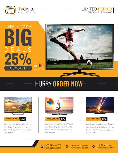Television Product Sale Flyer Design Template In Word Psd Publisher Product Sale Flyer Template