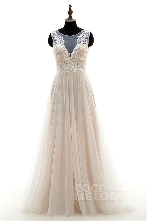 Sweep Wedding Dress by Cocomelody A Line Illusion Tulle Lace Sweep Brush