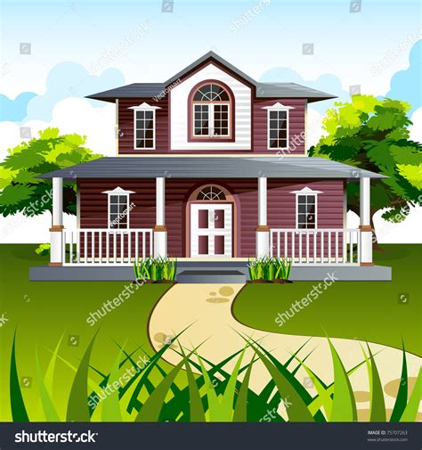 a house with big front porch background cartoon clipart vector toons illustration of front view of house in natural background