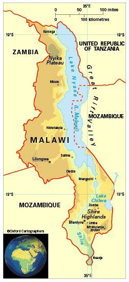 geographical map of malawi geography in malawi
