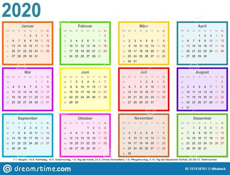 calendar   month  colored square ger stock vector illustration