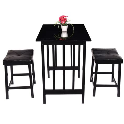 Bar Height Kitchen Table And Chairs 3pcs Kitchen Counter Height Dining Set Table And 2 Chairs Bar Furniture Us Stock Ebay