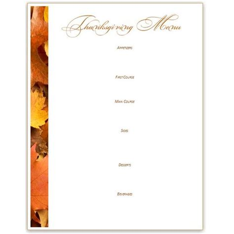 free blank menu templates 8 best images of printable thanksgiving menu blank