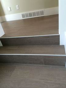 geflieste treppen wood floor tile on stairs with metal end cap painted