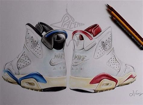 Drawing Jordans by This Sneaker Drawing Of The 6 Sport Blue Left