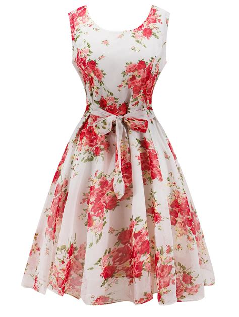 Flowers Dress retro belted high waisted flower dress in white sammydress