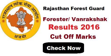 up vanrakshak pattern rajasthan forest guard result 2016 date and cut off marks