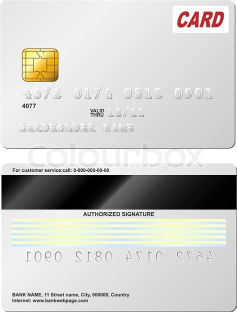 card back template blank credit card vector template front and back view