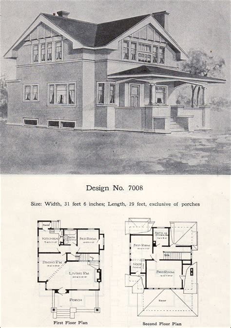1908 William A Radford Plan No 7008 Two Story Eclectic Vintage Two Story House Plans