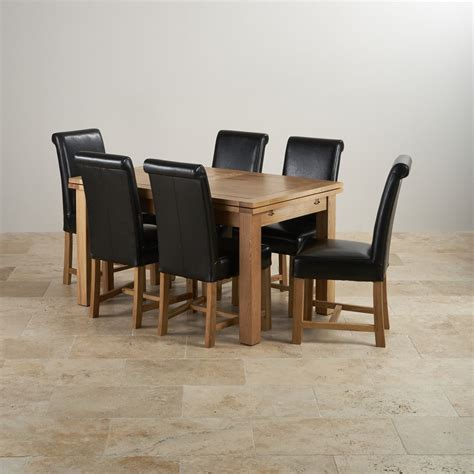 Dorset 4ft 7 Extending Oak Dining Table 6 Cream Leather Solid Oak Extending Dining Table And 6 Chairs