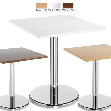 White Bistro Table Pescara Square Cafe Bistro Tables With Trumpet Base In Beech White Walnut