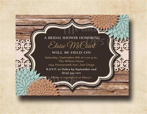 rustic bridal shower invitation wedding by mermaidmonkeydesigns