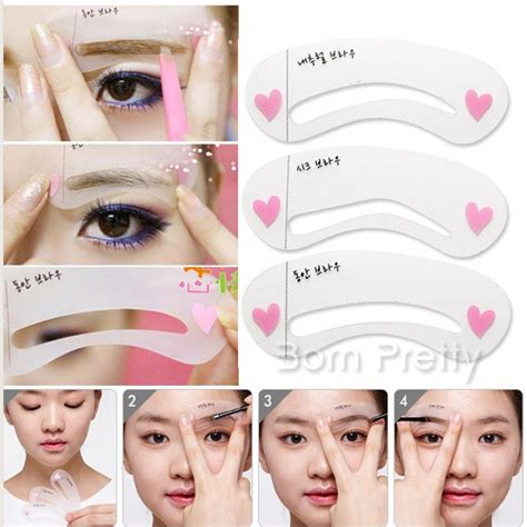 2 72 3pcs set brow class drawing guide eyebrow template
