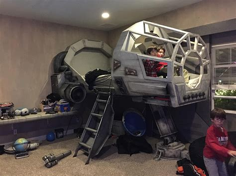 star wars bedroom impressive custom built star wars bedroom featuring a kid s bed made of a millennium falcon