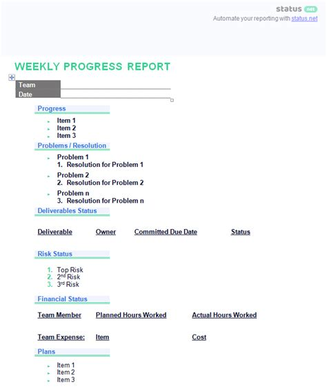 simple progress report template doc 2 remarkably simple weekly progress report templates