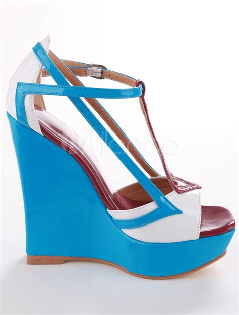 multi color patent leather t womens wedge sandals