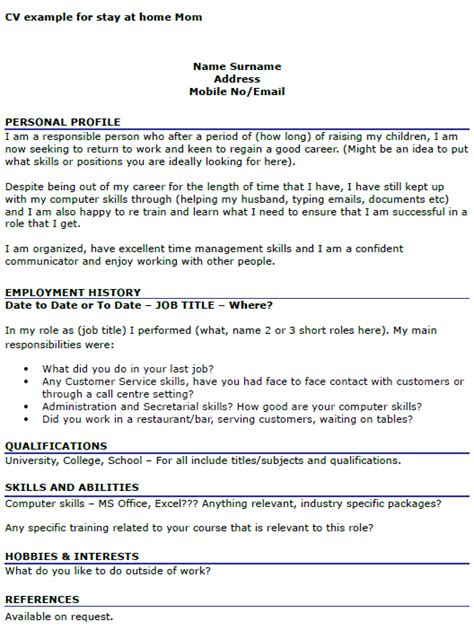writing a resume after being a stay at home cv exle for stay at home icover org uk