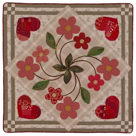 American Patchwork And Quilting Patterns - hearts and flowers quilting pattern from the editors of