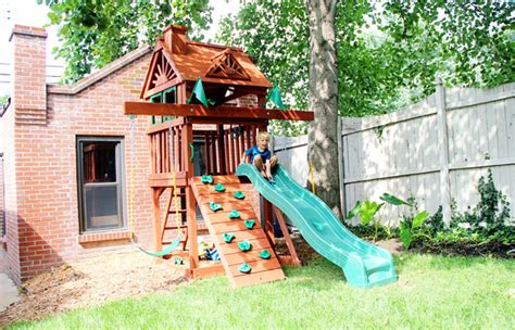 swing sets for small spaces sweet small yard swing set solution