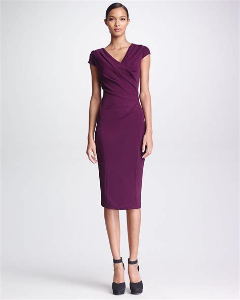 Dress Hodie New York donna karan new york gathered capsleeve dress amethyst in purple amethyst lyst