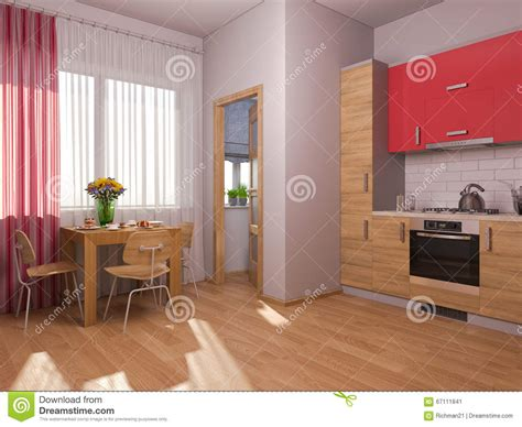 apartment design shows 3d visualization of interior design kitchen in a studio