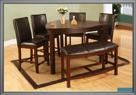 Dining L Counter Height Triangle Table With 4 Chairs And