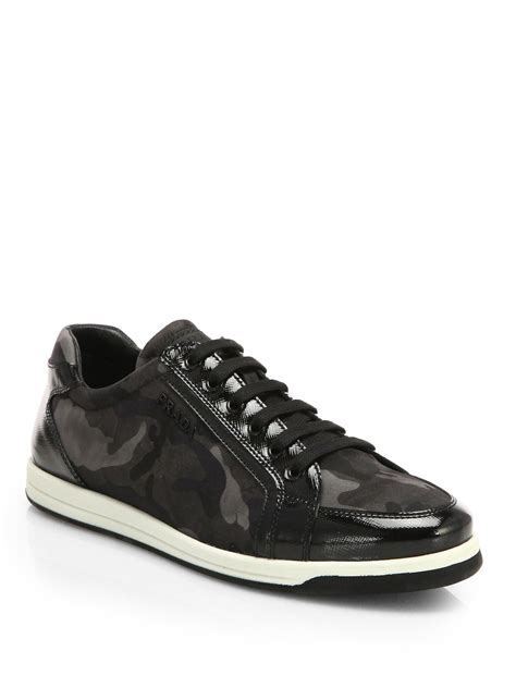prada sneakers lyst prada camo print lace up sneakers in black