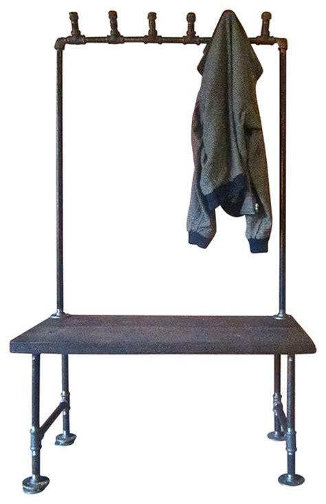 bench slang industrial pipe coatrack bench industrial indoor