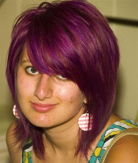 juliana huff hahr styles hairstylegalleries com purple short hairstyle with long swept bang
