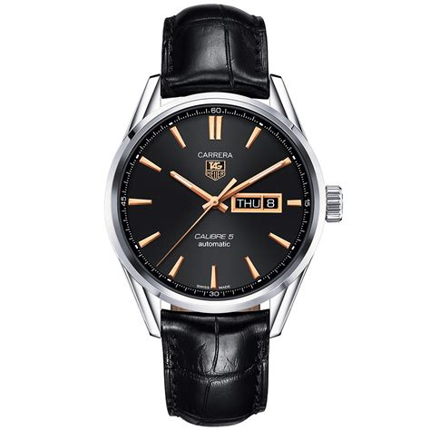 Tag Heuer Cal 1887 Black Orange Leather tag heuer calibre 5 day date black leather