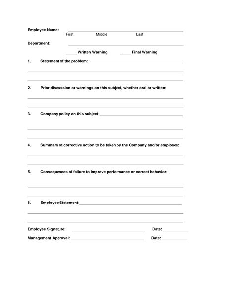 employee write up forms eforms free fillable forms