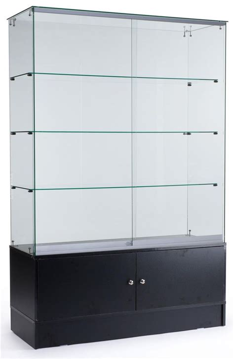 frameless glass cabinet doors 48 quot glass display case w sliding doors base cabinets