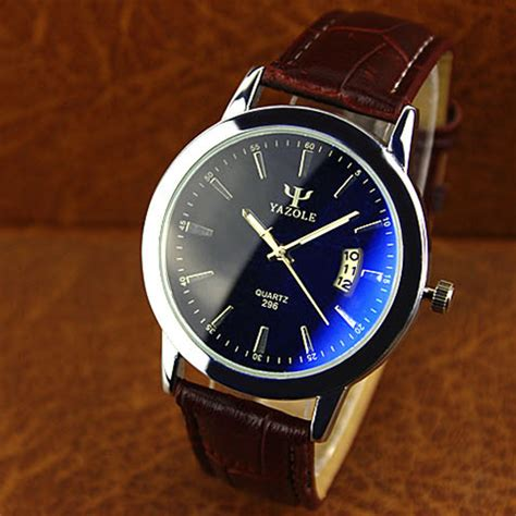 yazole 296 blue glass pu band big dial waterproof quartz