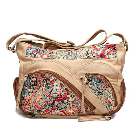 Free Tribal Floral Bag by Canvas Tribal Flower Printing Multi Pockets Crossbody Bag