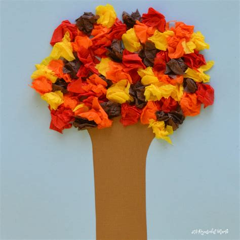 Paper Fall Crafts - crepe paper fall tree family crafts