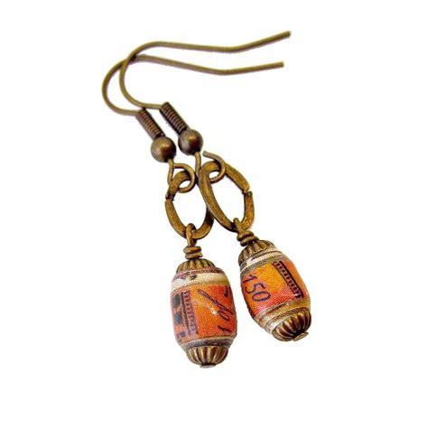 Handmade Paper Jewelry - dangle earrings with handmade paper tearsheets