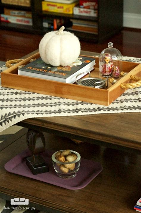 fall coffee table decor fall coffee table decor two purple couches