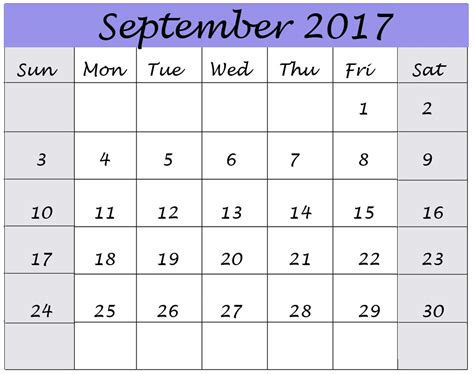 Calendar For September 2017 September 2017 Calendar Printable