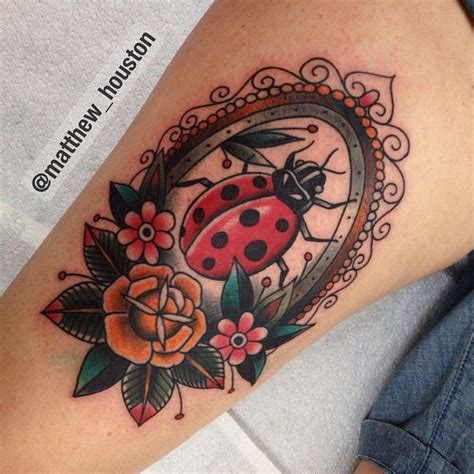 rose and ladybug tattoo best 25 traditional ideas on