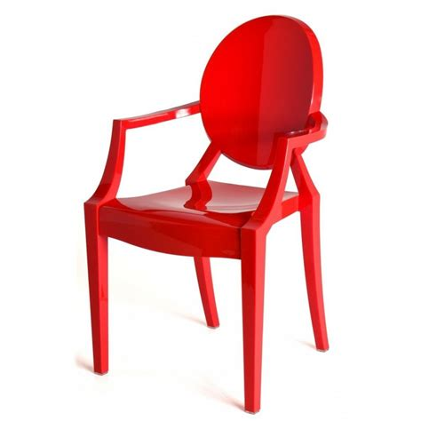 plastic sofa chair red hot ghost style louis armchair striking red ghost