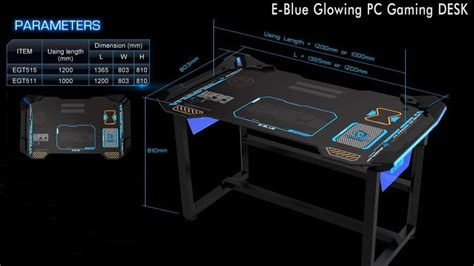 Feet In A Meter by E Blue Pc Gaming Table With Led Egt515bk Compuji Com
