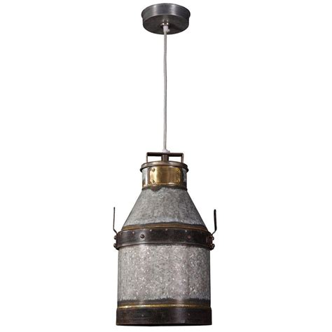 Iron Pendant Light Kenroy Home Cudahy 1 Light Galvanized Iron Pendant With Bronze Accents 93046gi The Home Depot