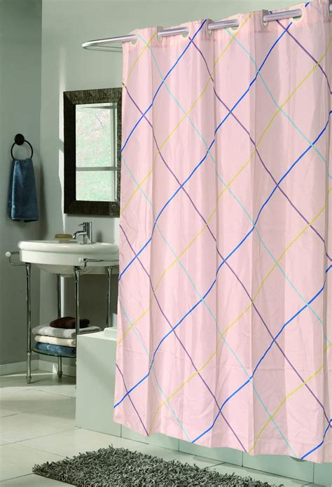shower curtain no hooks needed carnation home fashions inc quot ez on quot fabric shower