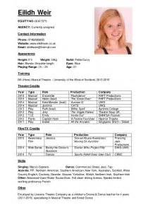 Musical Resume Template by Musical Theatre Resume Template Bestsellerbookdb